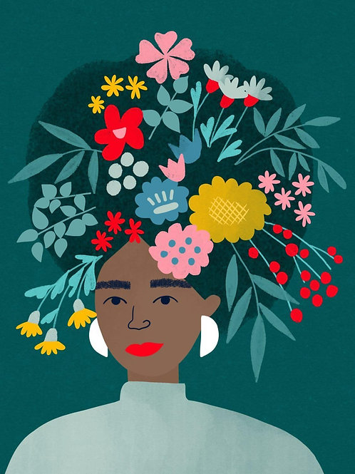 Lady with Wild Flowers A4 Giclee Art Print