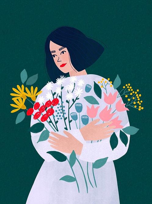 Flower Girl A4 Giclee Art Print