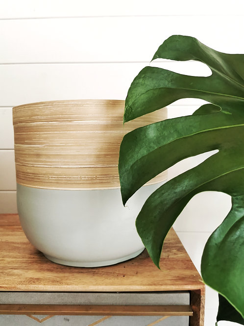 Extra Large Bamboo Grey Planter