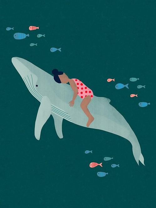 Whale Art A4 Giclee Art Print