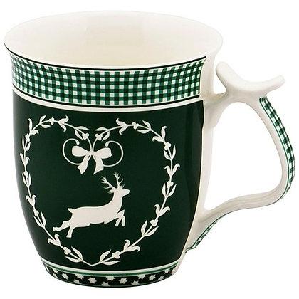 bayrisches Kaffeehaferl grün / weiß