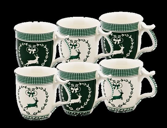 6er Set bayrisches Kaffeehaferl grün / weiß