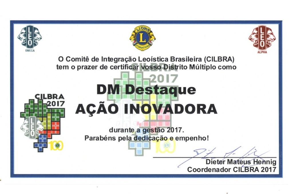 Certificado entregue ao Distrito Múltiplo LEO LC pela iniciativa de alguns associados em criar o site Mundo LEO, como ação inovadora, durante o XVIII FOLEOBRAS, em Florianópolis/SC.