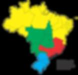Divisão territorial dos quatro distritos múltiplos que compõem o Brasil.