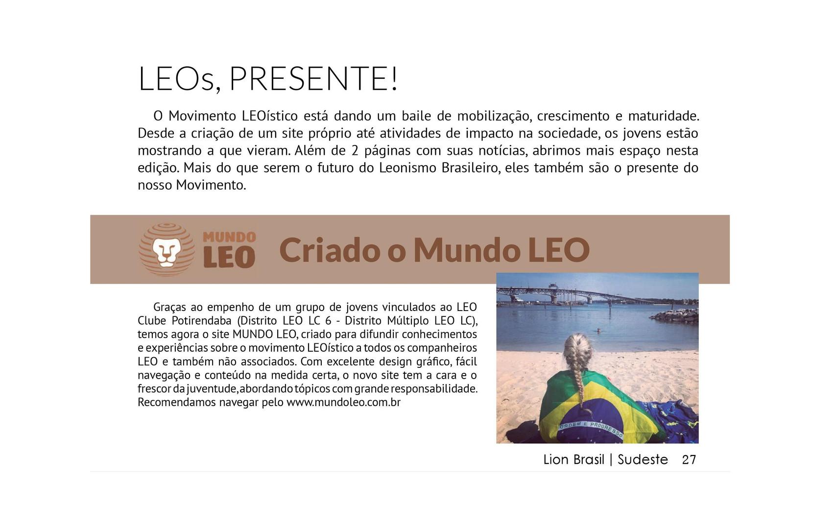 Menção ao Mundo LEO durante a edição nº 106 da Revista Lion Brasil Sudeste.