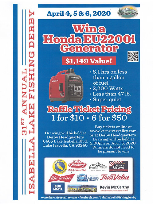 6 Ticket Pack Honda EU2200i Generator