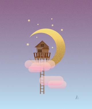 Moon Treehouse Illustration
