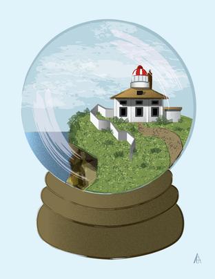 Lighthouse Globe Illustration