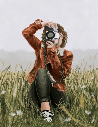 Girl With Camera Digital Painting