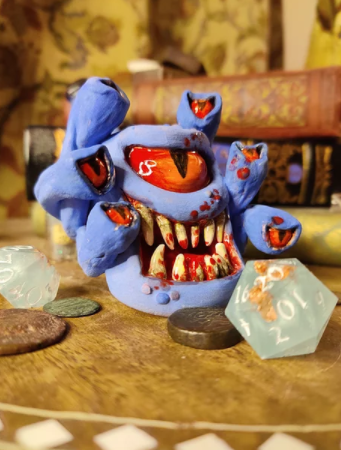 Blue Beholder Pipe with a bloody grin | The Monster Inn