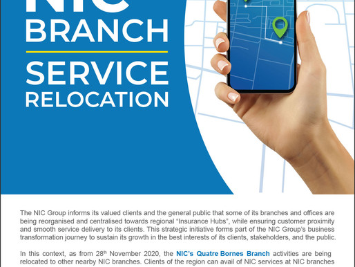 NIC Branch Service Relocation Notice - Quatre Bornes branch