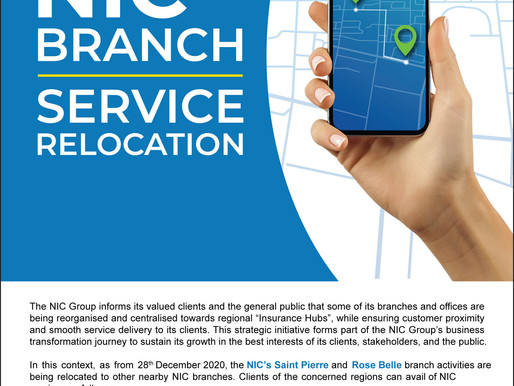 NIC Branch Service Relocation Notice – Saint Pierre & Rose Belle branches