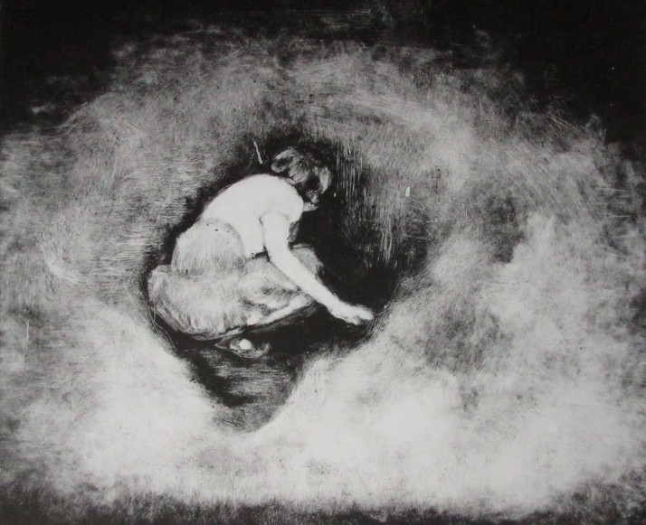 Young girl crawling into holy well
