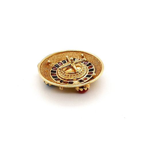 Enameled and Jeweled Roulette Wheel Charm