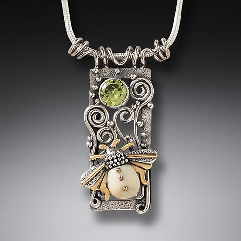 FOSSILIZED WALRUS TUSK IVORY SILVER BEE PENDANT, 14KT GOLD FILL AND PERIDOT - BE