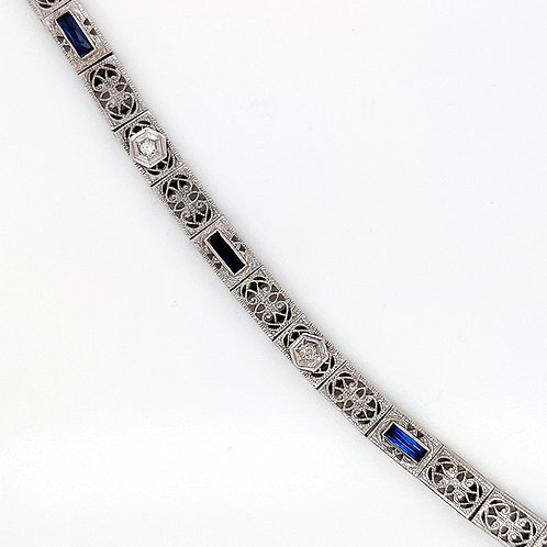 Antique Gold Diamond and Sapphire Bracelet