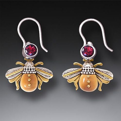 14KT GOLD FILL GARNET FOSSILIZED IVORY SILVER BEE EARRINGS, HANDMADE - BEES