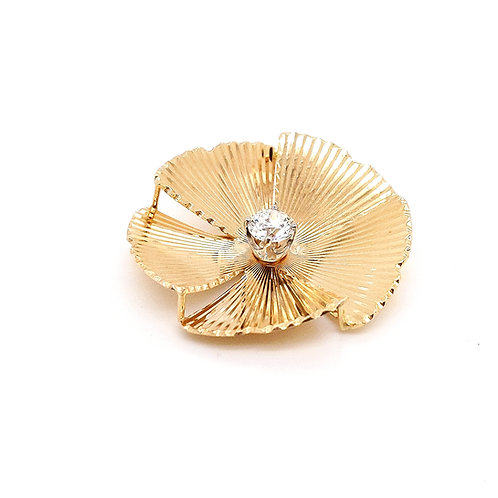 Tiffany & Co. 14k Gold and Diamond Flower Brooch