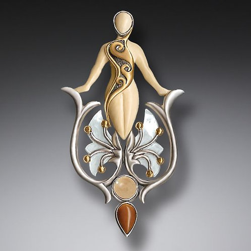 FOSSILIZED WALRUS IVORY MOTHER OF PEARL PENDANT WITH 14KT GOLD FILL, HANDMADE SI