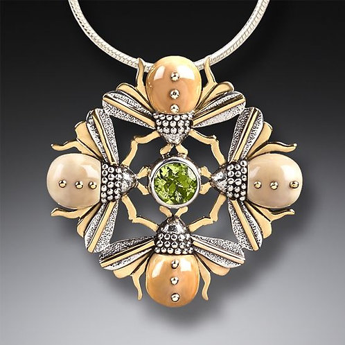 FOSSILIZED WALRUS IVORY FOUR BEES NECKLACE, 14KT GOLD FILL AND PERIDOT - BEE MAN