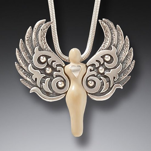 ANCIENT MAMMOTH IVORY AND STERLING SILVER ANGEL PENDANT– GUARDIAN HEART