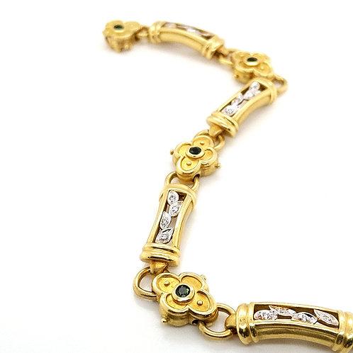 18k Gold Diamond & Tsavorite Link Bracelet