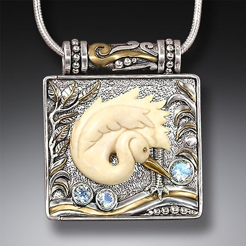 MAMMOTH IVORY BIRD LOCKET, 14KT GOLD FILL AND RAINBOW MOONSTONE - EGRET