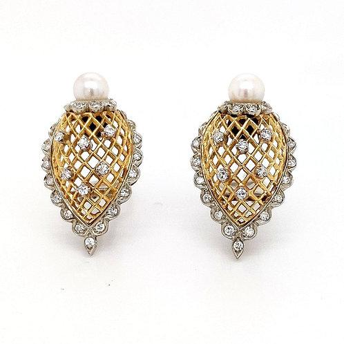 Vintage Diamond & Pearl Basket Weave Clip-On Earrings