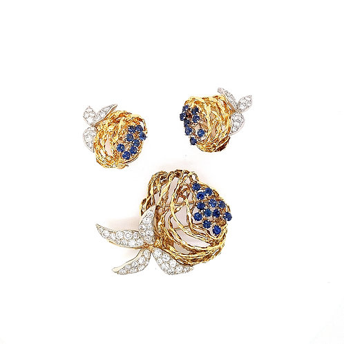 Gold Sapphire & Diamond Brooch and Earring Set