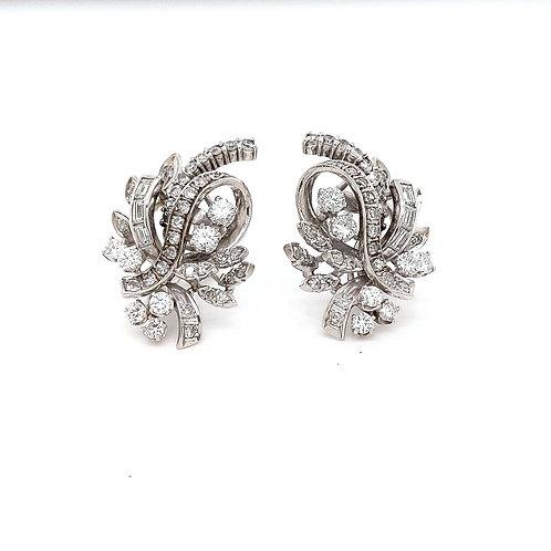 Estate Platinum and Diamond Earrings