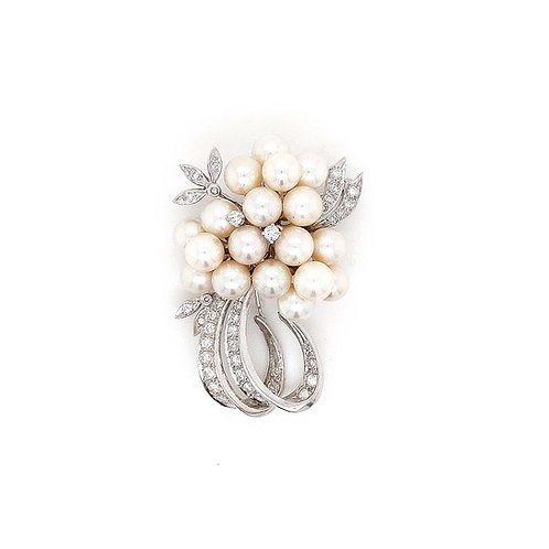 Vintage 14k Custom Pearl & Diamond Brooch