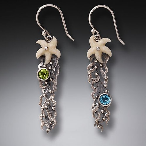 FOSSILIZED WALRUS IVORY DANGLING STARFISH EARRINGS SILVER WITH PERIDOT AND BLUE