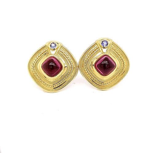 18k Garnet and Tanzanite Earrings