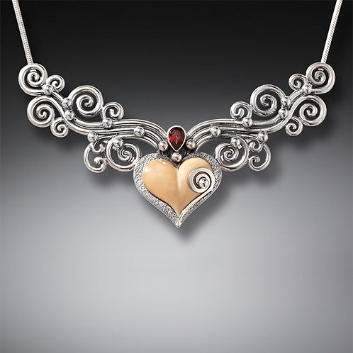 FOSSILIZED WALRUS TUSK IVORY HEART NECKLACE WITH GARNET, HANDMADE SILVER - HEART