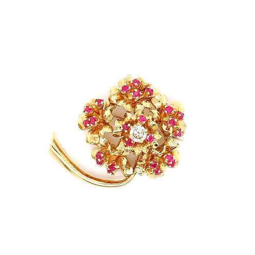 Tiffany & Co. Yellow Gold Diamond and Ruby Tree Brooch