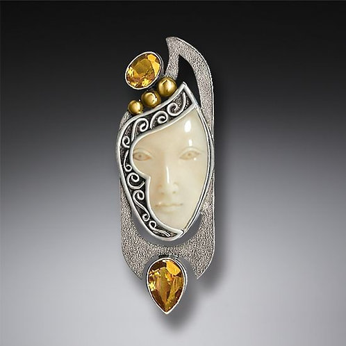 ENIGMA PENDANT OR FOSSILIZED WALRUS IVORY PIN, CITRINE AND HANDMADE SILVER - ENI