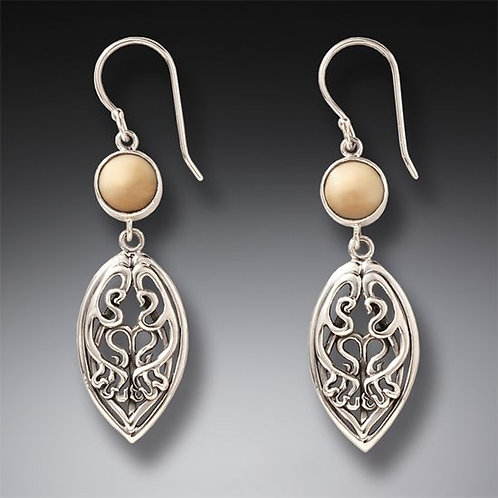 SILVER AND FOSSILIZED WALRUS IVORY ART NOUVEAU EARRINGS – NOUVEAU DROP