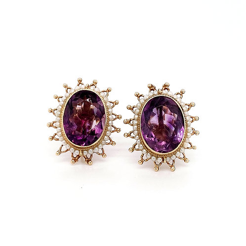 Vintage Amethyst and Pearl Screw Back Earring