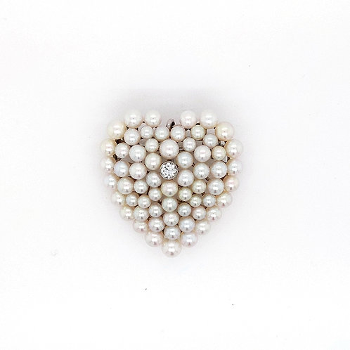 Platinum Diamond and Pearl Heart Shaped Brooch