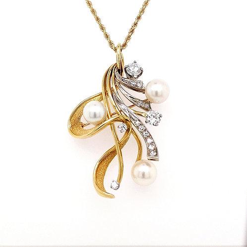 Vintage 18k Gold Diamond & Pearl Brooch