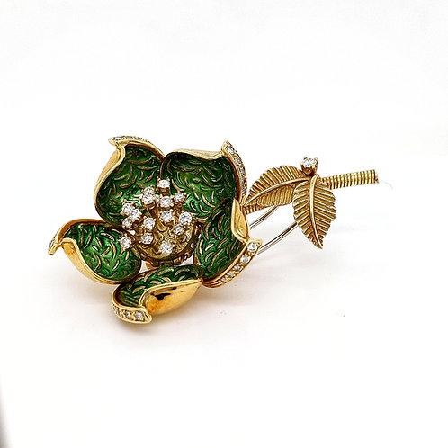 Vintage Hammerman Brothers Enameled Flower Brooch