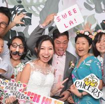 Tropical wedding photo booth backdrop