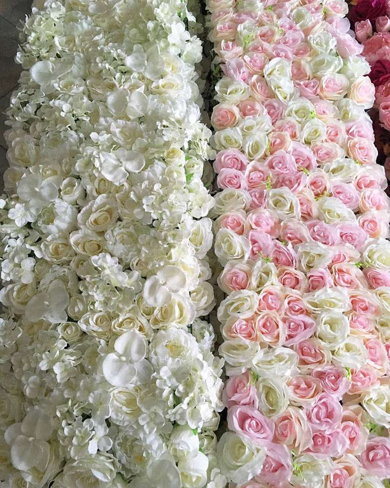 floral wedding photo booth backdrop white and pink makors events