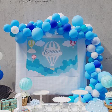 Blue organic balloon arch Condo party Singapore