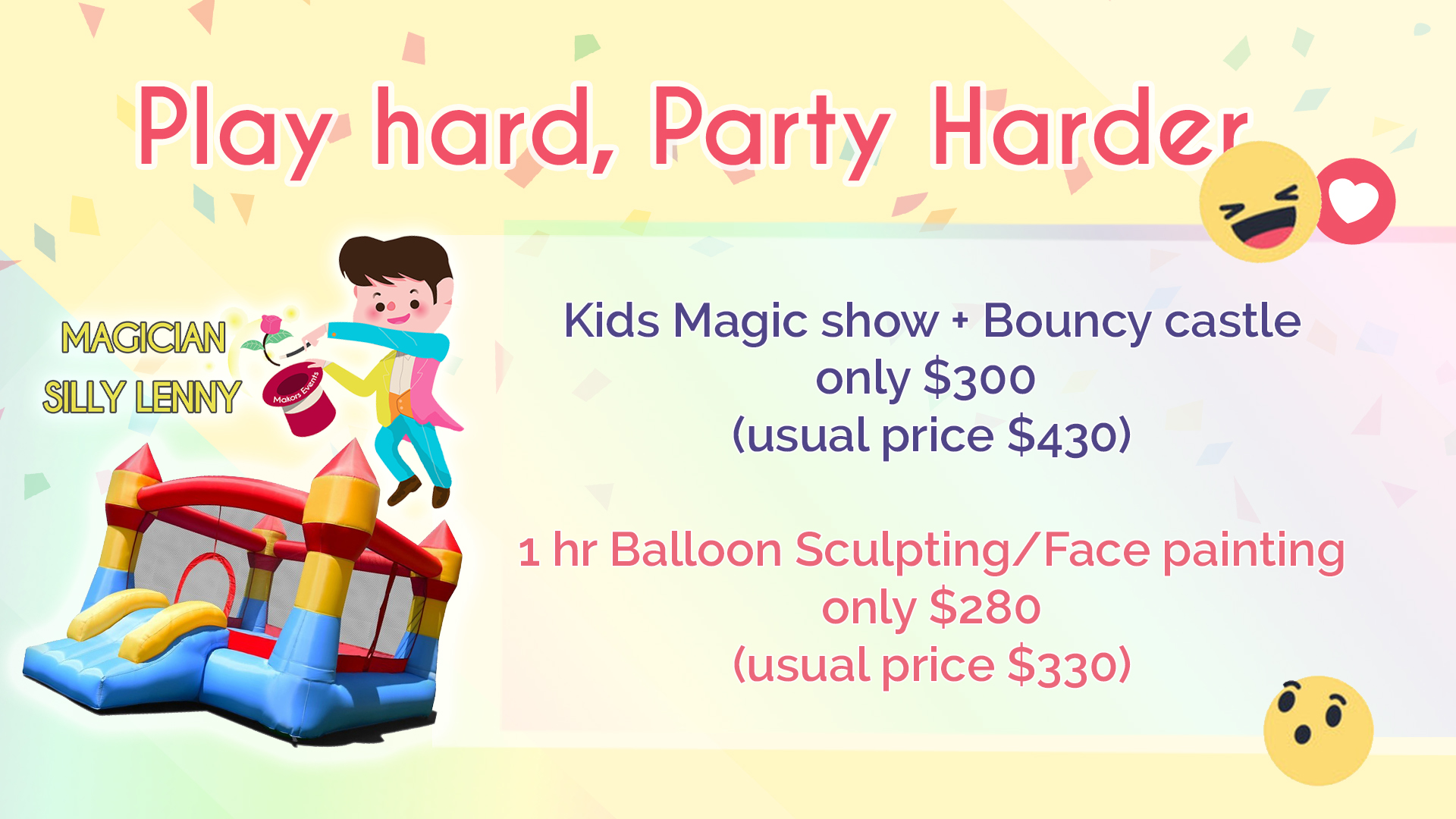 Kids magic show, bouncy castle