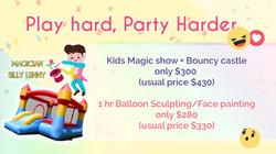 Kids magic show, bouncy castle