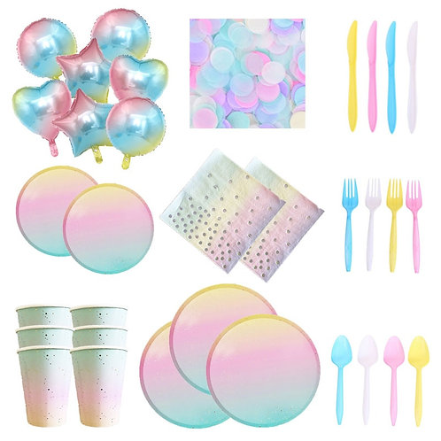 Gradient Rainbow Unicorn Plate Disposable Partyware and balloons