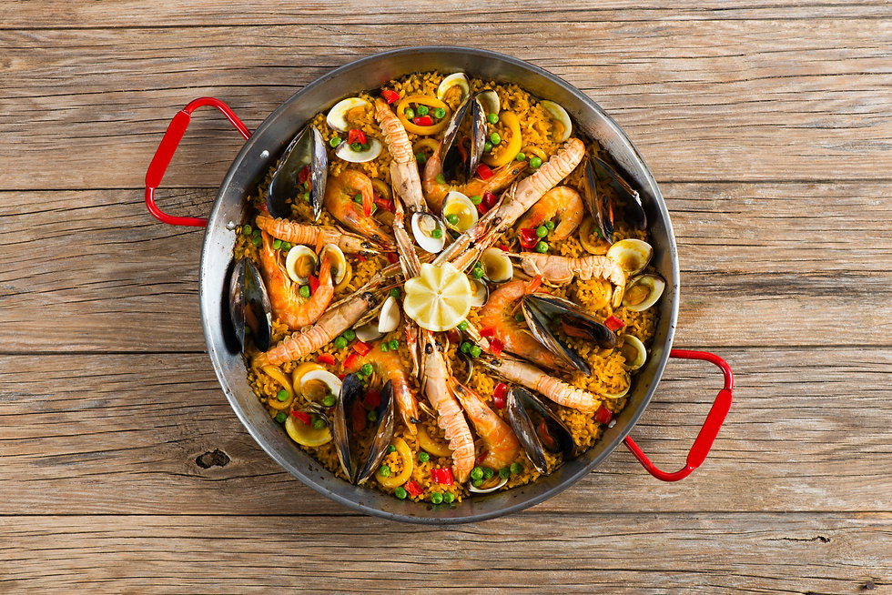 Top view of typical spanish seafood pael