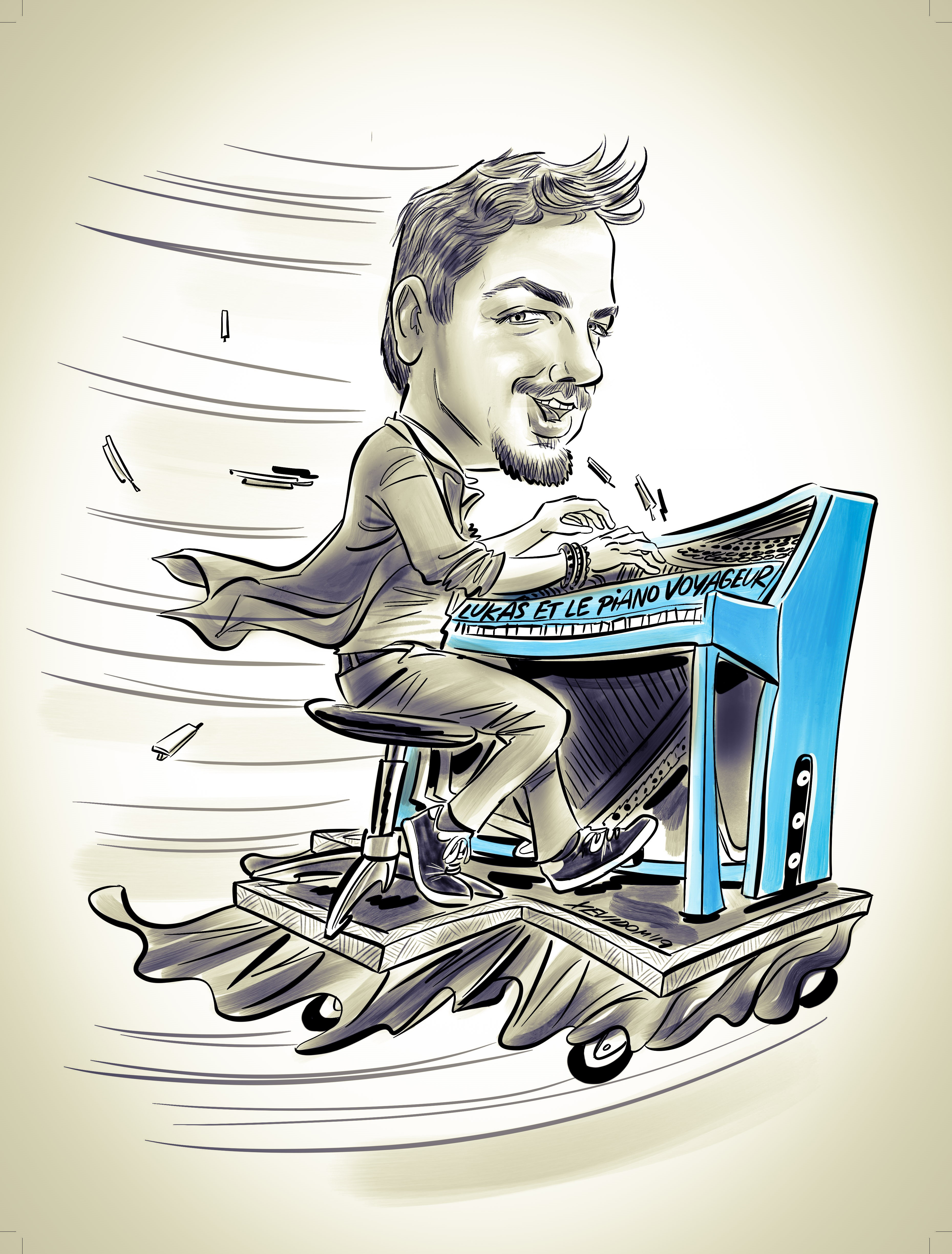 Traveling Piano Caricature