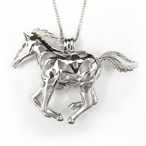 Horse cage pendant sterling silver the sterling silver horse cage pendant can hold up to 2 4 pearls depending on there size it comes on a 16 sterling silver box chain with the option to aloadofball Gallery